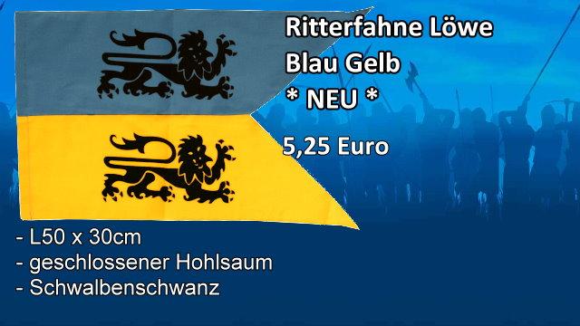 Ritterfahne Löwe Blauf Gelb