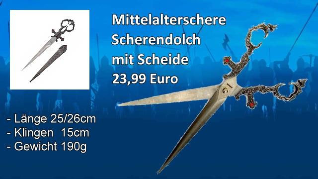 Mittelalter Scherendolch mit Scheide