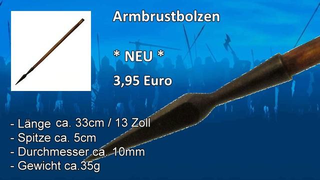 Armbrustbolzen 33cm Schmiedespitze