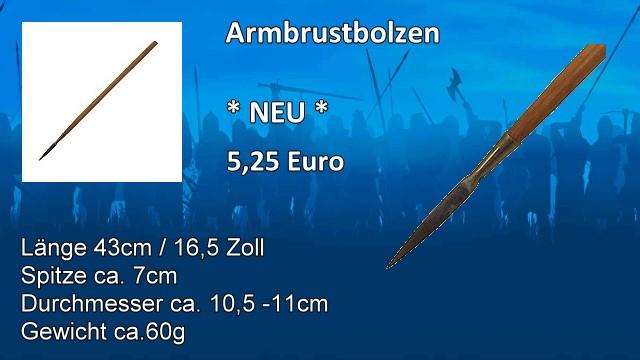 Armbrustbolzen 43cm Schmiedespitze