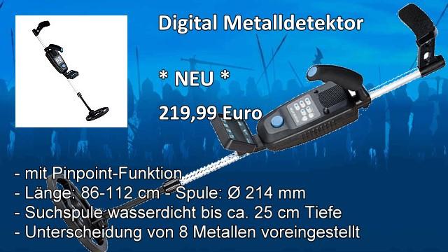 Digital Metalldetektor mit Metall-Tiefenerkennung wasserfest