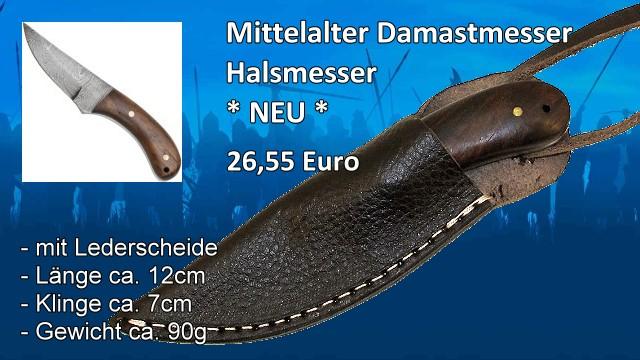 Mittelalter Damastmesser Halsmesser