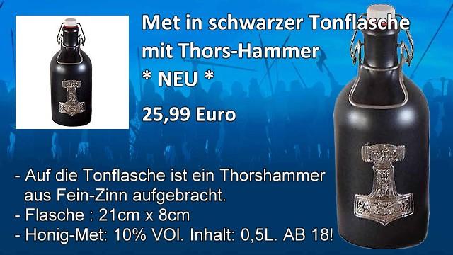 Tonflasche mit Thorshammer und Met
