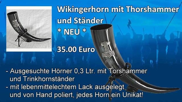 Wikingerhorn mit Thorshammer und Staender