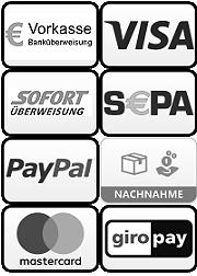 Sicher bezahlen mit: PayPal, Lastschrifft, Vorkasse, Nachnahme, Amex, Visa, Mastercard, Barzahlung bei Abholung