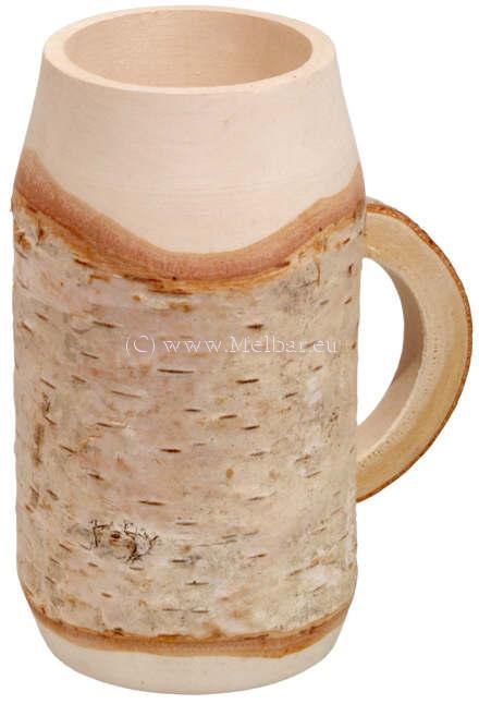 Holzbierkrug Birke mit halbrundem Henkel klein
