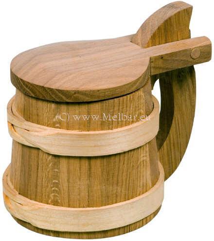 Holz Bierkrug Wikinger mit Deckel