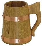 Holzbecher Bierkrug Humpen halb. Liter Eiche