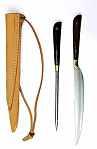 Messer Mittelaltermesser und Essdorn mit Holzgriff
