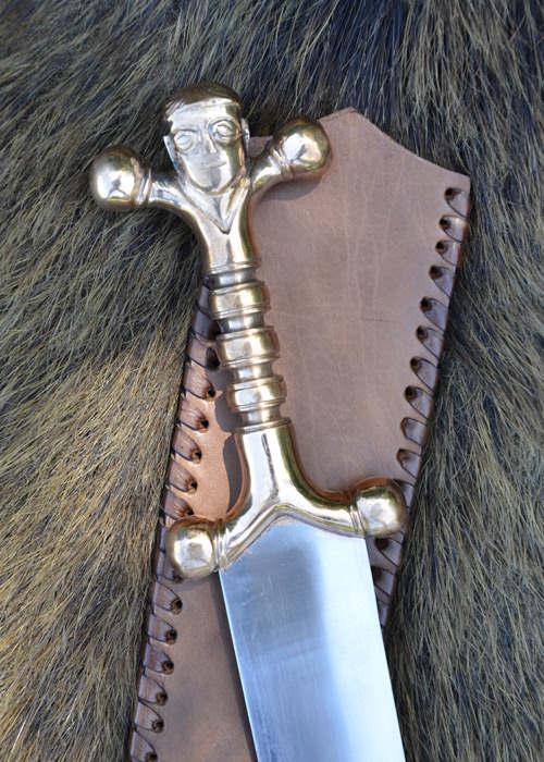 Keltischer Dolch Bronzegriff Lederscheide Abb. Nr. 3