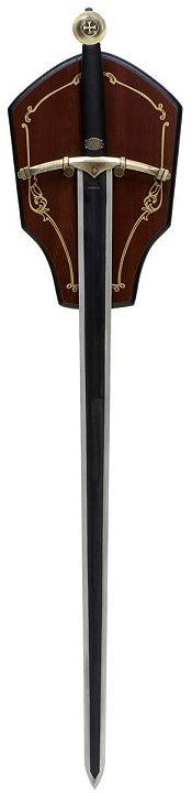Ritterschwert mit Holzwandplatte.