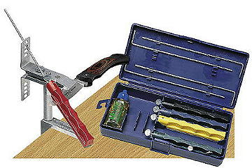 Bild Nr. 2 Lansky Schärfset, m. 5 Abziehsteinen,sehr grob b. sehr fein, inkl. Klammer, Führungsstäbe, Schleiföl, Transportbox