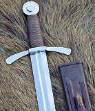 Schwerter Kreuzritterschwert Scheibenknauf Lederscheide