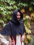 Mittelalterliche Gugel aus Wolle in anthrazit