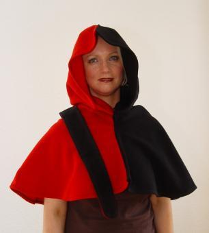 Gugel Wolle rot schwarz