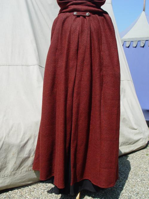 Mittelalter Umhang Walkloden rot melliert