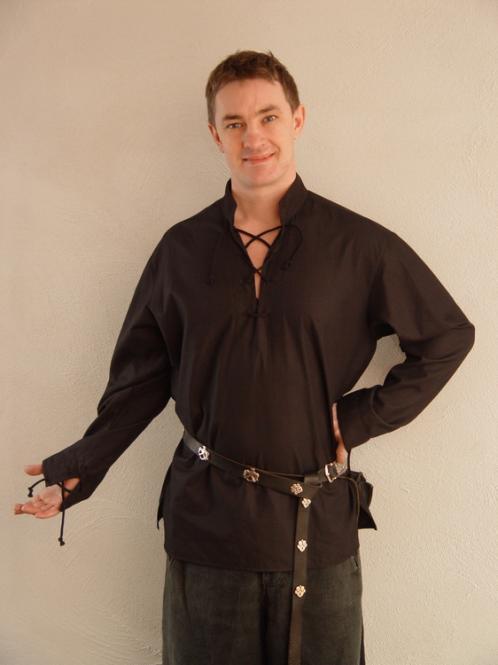 einfaches Mittelalterhemd schwarz