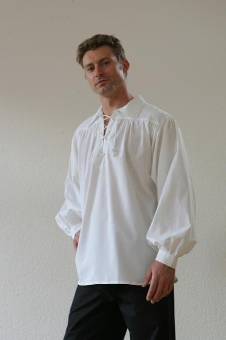 Mittelalterhemd BW Kragen Weiss