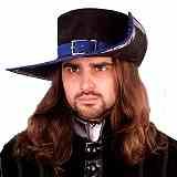 Kopfbedeckungen Musketier-Hut Leder blau
