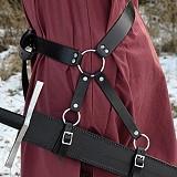 Schwertgehänge schwarz Leder variabel