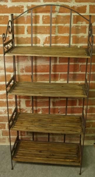 Großes Regal Gebranntes Holz Eisen