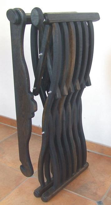 Bild Nr. 2 Scherenstuhl Mooreiche mit Rückenlehne