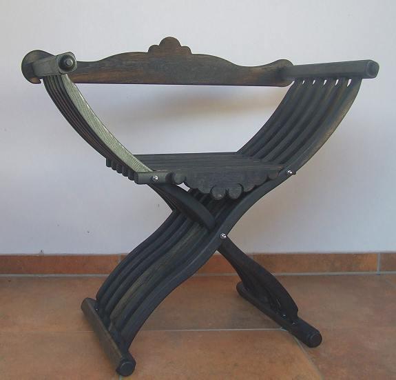 Bild Nr. 5 Scherenstuhl Mooreiche mit Rückenlehne