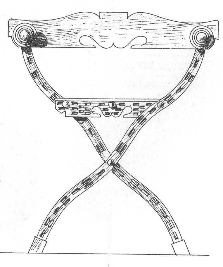 Bild Nr. 7 Scherenstuhl mit Rückenlehne und Dekor