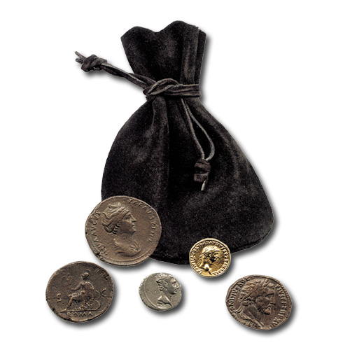 Fünf Römische Münzen Münzbeutel
