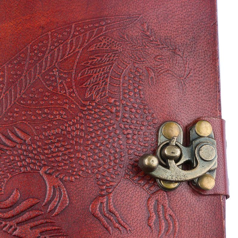 Bild Nr. 4 Notizbuch Handgemacht Ledereinband Drachen