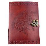Papiere Notizbuch Handgemacht Ledereinband Drachen