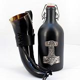 Geschenkset Trinkhorn Met-Flasche mit Thors Hammer